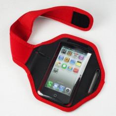 Armband husa brat telefon pentru alergat pentru iPhone 4 5 5S 5C rosie, Universala, Rosu, Neopren