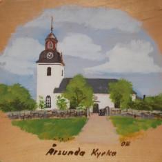 BISERICA ,  veche PICTURA in ULEI  PE LEMN ,  / Aplica de perete / Tablou lemn