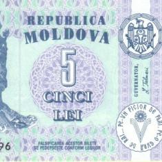 Moldova 5 Lei 2009 P-9f UNC !!! - bancnota europa
