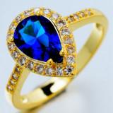 Inel placate cu aur - Inel 9K GOLD FILLED inima cu zircon CZ si safir cz. Marimea 7