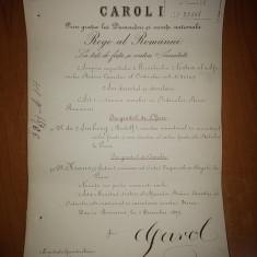 Brevet semnatura originala regele carol 1, 1 decembrie 1897