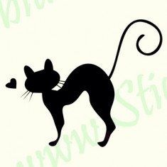 Pisica_Tatuaj De Perete_Sticker Decorativ_Cod:WALL-230-Dim: 25 cm. x 20.8 cm. - Tapet