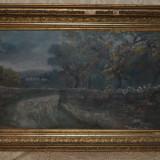 ION MARINESCU (VALSAN) - Peisaj din Malureni - Ulei pe panza - Impecabil - 1895! - Pictor roman, Peisaje, Ulei, Realism