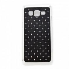 Husa SAMSUNG GALAXY GRAND PRIME G530 G531 G531FZ cromata cu strasuri neagra - Husa Telefon Samsung, Negru, Plastic
