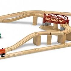 Melissa&Doug Set Trenulet Din Lemn Cu Pod Pivotant - Trenulet de jucarie