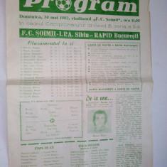 Program F.C. Soimii I.P.A. Sibiu - Rapid Bucuresti ~ 30 mai '82 - Program meci