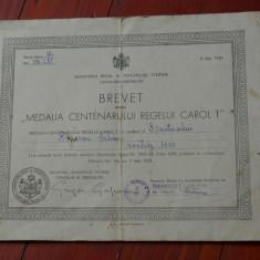 Brevet pentru medalia centenarului regelui Carol I / 9 mai 1939 !!!!!!