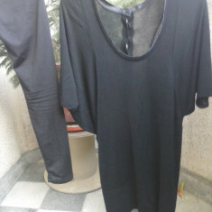 Bluza dama, Maneca 3/4, Bumbac - Bluza lunga neagra+colanti mas.L