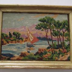 Tapiterie Goblen - GOBLEN-PEISAJ-BARCA PE RAU-inramat, vintage