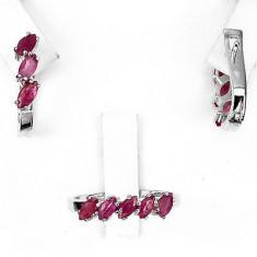 Set cercei + inel argint rodiat 925 cu rubine - Set bijuterii argint