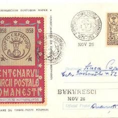 INTREG POSTAL 4840 ROMANIA, CENTENARUL MARCII POSTALE ROMANESTI, 1958, BUCURESTI, BUKURESCI, CIRCULAT CU POSTALIONUL, STAMPILE SPECIALE, TB. IMPRIMAT., Dupa 1950