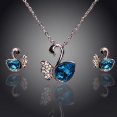 Set Swarovski - Set de bijuterii superb placat Aur 18k, Cristale Swarovski : colier, cercei-ideal cadou cod 261