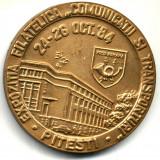 MEDALIA EXPOZITIA FILATELICA COMUNICATII SI TRANSPORTURI PITESTI 1984 SIMPOZIONUL NATIONAL DE TELECOMUNICATII - Medalii Romania