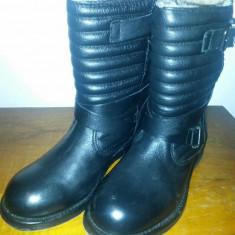 Ghete Zara Biker Piele Naturala - Ghete dama Zara, Marime: 36, Culoare: Negru