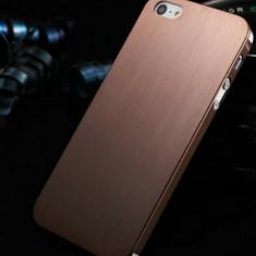 Husa/toc, aluminiu finisat, iPhone 5/5S Lux, Maro - ultrasubtire 0.3mm. - Husa Telefon Apple, Metal / Aluminiu, Carcasa