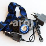 Lanterna Frontala LED cu Acumulator si Zoom + incarcator masina si priza