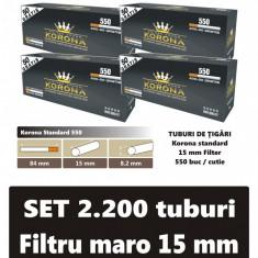 2.200 tuburi de tigari Korona standard cu filtru maro pentru injectat tutun - Foite tigari