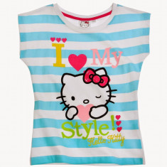 Tricou maneca scurta 4-10 ani - Hello Kitty - art 107992 dungi turcoaz, Marime: Alta