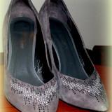 Pantofi dama, Marime: 39, Piele naturala - PANTOFI GRI, MEDEEA! MAR.39!