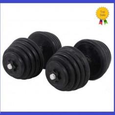 Gantere/Haltere - Set Gantere cu Discuri Cauciucate Reglabile 2x25KG/Brat 50KG 2x25 kg 50 kg