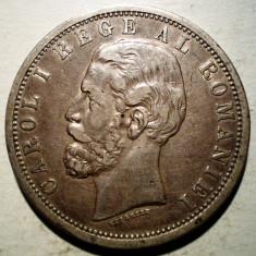 Monede Romania, An: 1901 - R.206 ROMANIA CAROL I 5 LEI 1901 VF/XF ARGINT 25g