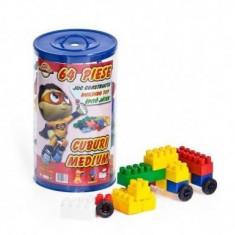 Masuta/scaun copii - Cuburi Constructie 64 piese plastic colorate
