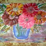 Tablou Fara rama 40 cm x 30 cm - Pictor roman, Flori, Ulei, Altul