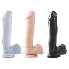 Dildo si donguri - Basix Rubber Works Penis 30cm cu Ventuza - culoarea Neagra