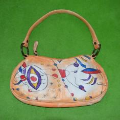 Poseta din piele naturala, cu desen tip Kandinski, artistic, deosebit, 30x13x5cm - Geanta Dama, Culoare: Verde, Marime: Mica