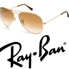 Ochelari Ray Ban Aviator + toc + laveta - Ochelari de soare Ray Ban, Unisex, Metal, Protectie UV 100%