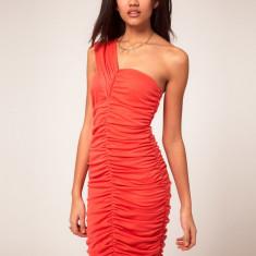 NOU Rochie portocalie mulata incretita pe un umar VERO MODA ASOS L - Rochie de seara Zara, Marime: L, Culoare: Rosu, Scurta, Asimetrica