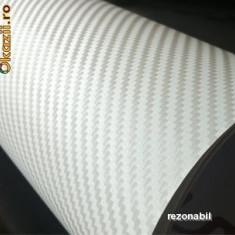 Folii Auto tuning - Folie carbon 3D 100 x 127 cm ALB Rapid AIR Bubble Free Calitate extra groasa