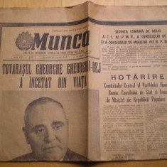 Ziar - Deces Gheorghe Gheorghiu Dej - Munca 20 martie 1965