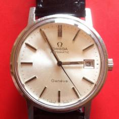 Ceas Barbatesc omega, Elegant, Mecanic-Automatic, Inox, Piele, Data - Omega Geneve Automatic, barbatesc, Original