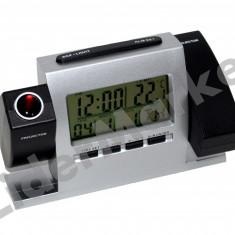 Ceas de camera cu proiectie dubla, alarma si statie meteo de interior - Ceas cu proiectie