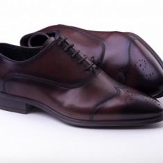 Pantofi Oxford Brogue Oferta - Pantofi barbati, Marime: 40, 41, 42, 43, 44, 45, Culoare: Maro, Piele naturala