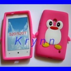 SC197 Husa silicon NOKIA Lumia 520 525 Pinguin, haios, roz +FOLIE! TR GR PT AV