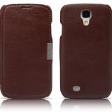 Husa piele Icarer Smart Samsung Galaxy S4 SIV I9500 i9501 I9505 I9508 + bonus, Maro, Cu clapeta