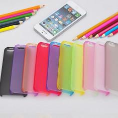 Husa Ultra Slim iPhone 5/5S 0. 3mm 7 culori Transparenta Neagra Mov Albastra Roz Rosie Verde | husa iphone ultraslim | CEL MAI MIC PRET GARANTAT, Plastic, Fara snur