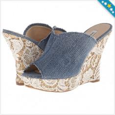 100% AUTENTIC - Saboti GUESS Benjy - Sandale Dama, Femei - Sandale Stil Blugi cu Dantela - Sandale Originale GUESS, Marime: 38, Culoare: Din imagine