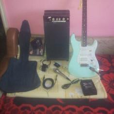 Chitara electrica - Set complect : chitara Fender ( originala ), statie, procesor, microfon
