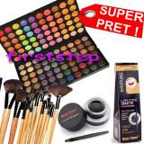 Trusa make up - Trusa machiaj paleta farduri profesionala MAC 120 culori + set 12 pensule make up Bobbi Brown + Cadou eyeliner tus gel ochi negru