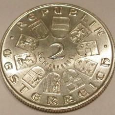G5. AUSTRIA 2 SCHILLING 1932, 1933 ARGINT, 12 g., 0.640, Dr. Ignaz Seipel **, Europa, An: 1933