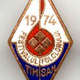INSIGNA FESTIVALULUI FOLCLORIC TIMISAN 1974