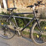 Bicicleta de oras Pegasus, cu cos de metal, janta, saua, pinioanele noi, 20 inch, 28 inch, Numar viteze: 21, Negru-Albastru, V-brake