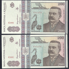Bancnote Romanesti, An: 1992 - ROMANIA 200 LEI 1992 [2] serii consecutive UNC, necirculate, pret / 2 bucati