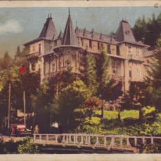 Romania, Slanic Moldova carte postala necirculata 1938: Vila Theodoru, automobil, Fotografie