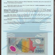 Bancnote Romanesti, An: 1999 - ROMANIA Pliant Folder Eclipsa de soare, 2000 2.000 LEI 1999 [1] UNC