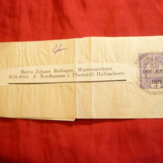 Banda de ziare cu 3 halleri violet imprimat si stampila speciala Asociatia Alpi