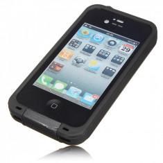 Husa telefon impermeabila rezistenta iPhone 4 4s + folie ecran, Negru, Plastic